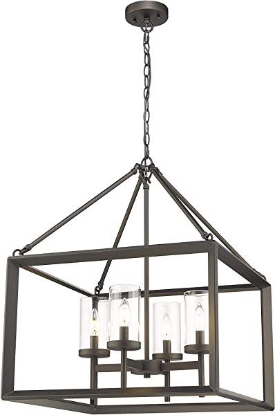 Emliviar 4 Light Lantern Pendant Light Dining Room Chandelier Cage Hanging Light Oil Rubbed Bronze Finish With Clear Glass Shade 3039 4A