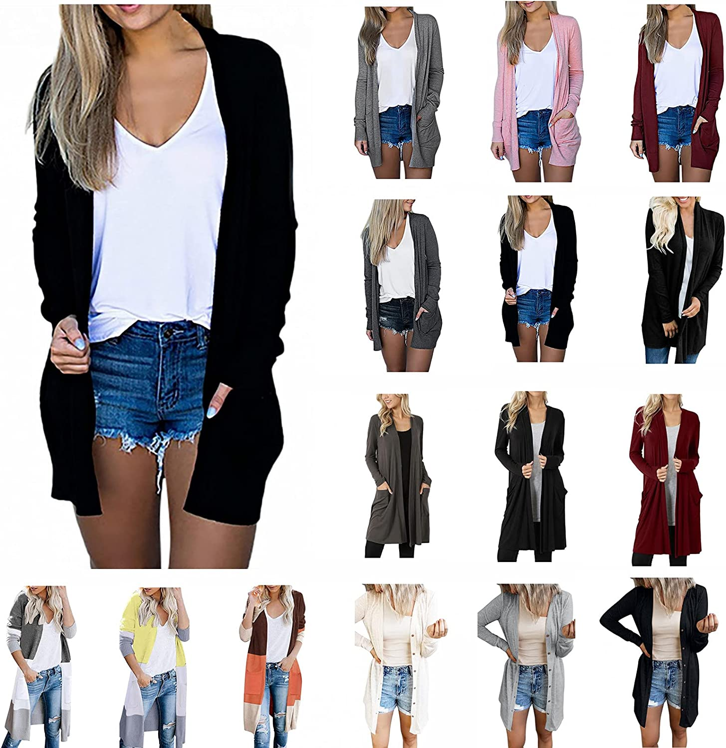 DOYIMBO Long Sleeve Cardigans for Womens Fall Top Coat Open-Front Cardigan Casaul Lightweight Cardigan Plus Size Tops