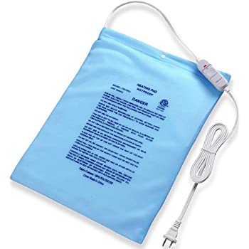 "Large Electric Heating Pad for Cramps and Back Pain Fast Relief Boncare 12""x15"" Moist & Dry Heat Pad for Neck and Shoulders with One Temperature Setting NO Auto Shut Off and Washable Cover (Sky Blue)"