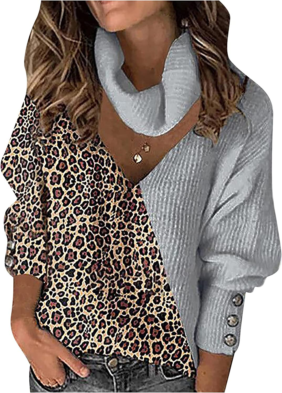 Women's Long Sleeve Turtleneck Chunky Knit Loose Oversized Sweater Pullover Jumper Tops Leopard Patchwork Knitwear
