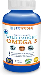 Omega 3 Fish Oil Wild Caught Triple Strength 2500mg / 860mg EPA / 650mg DHA (180 Softgels) Burpless Non-GMO Verified Sustainably Sourced Natural Supplement Pills