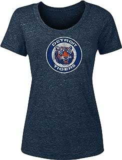 New Era Detroit Tigers Women's Distressed Vintage Logo Tri-Blend T-Shirt
