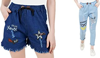 WILFREDO Light Blue Summer Rough Look Denim Jogger & Dark Blue Dear Youth Denim Shorts for Women's (Pack of 2)