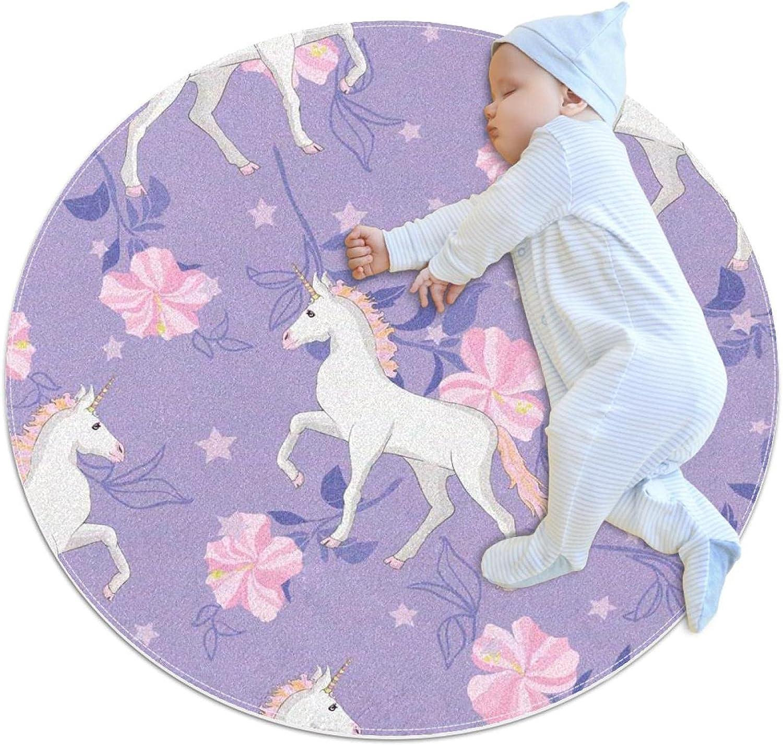 Pink Flower Max 75% OFF Unicorn Kids Nursery Rug Play Carpet Round Mat Oakland Mall Desi