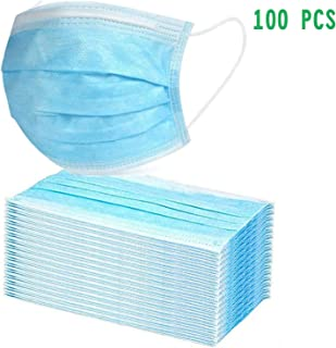 100PCS Disposable 3-Ply with Earloops Protective for Dust,Pollen,Blue