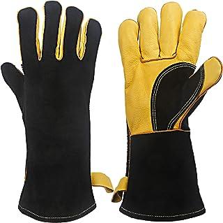 KIM YUANエクストリームヒート&耐火手袋、ケブラーステッチ、革製品、ストーブ、オーブン、グリル、溶接、バーベキュー、ミグ、ポットホルダー、動物処理、グレーイエロー