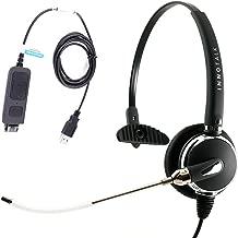InnoTalk Voice Tube Microphone Plug N Play Monaural Computer Headset plus USB cord Compatible with Plantronics QD for MS Lync, Skype, 3CX, Bria X-Lite
