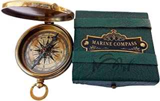 MAH ''Robert Frost Poem'' Engraved Antiquated Finish Brass Compass with Case.C-3240