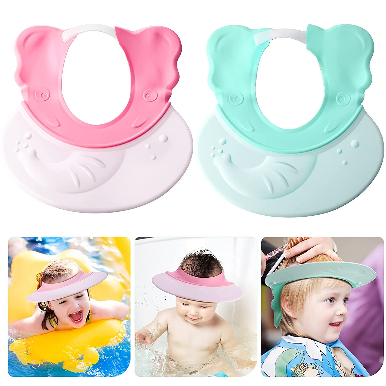2 Pieces Baby Shower Cap Adjustable Toddler Hair Washing Visor Silicone Shampoo Bath Cap Visor Cap Bathing Shampoo Hat Protect Eye Ear Baby Hair Washing Cap for Infants Toddlers Kids, Green and Pink