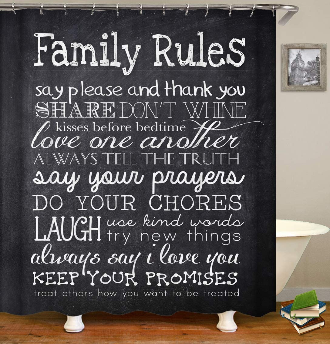 OCCIGANT Home Decor Waterproof Polyester Shower Curtain,Happiness and Sweet Words Family Rules on The Coloured Retro Boards Image Fabric Bathroom Set with Hooks