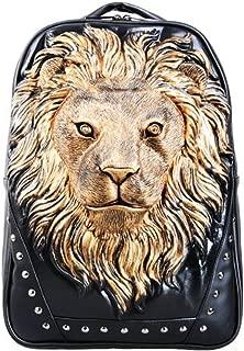 Daypacks Anlimal 3D Lion Head Backapck PU Laptop Shoulder Bag Large Backpack for Men (Color : Gold)