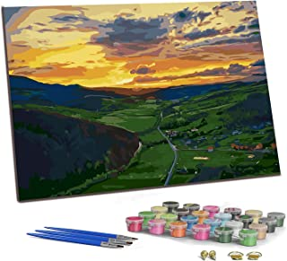 """PJCSEC DIY Paint by Numbers for Adults Kids, Canvas Oil Painting Kit for Beginner, Meaningful Gift - Sunset Village (16"""" x..."""