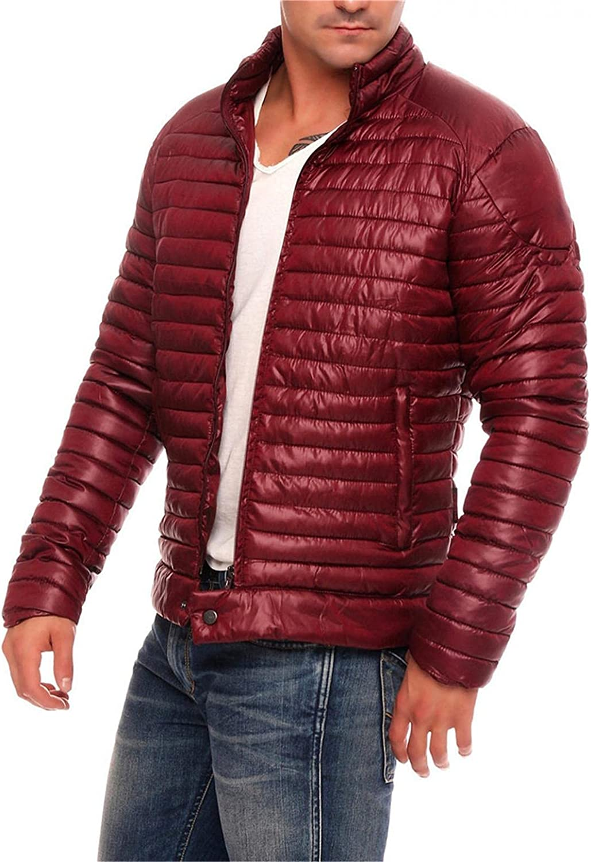 XUNFUN Men's Down Alternative Jackets Lightweight Packable Wind Resistant Puffer Jacket Stand Collar Warm Winter Coats