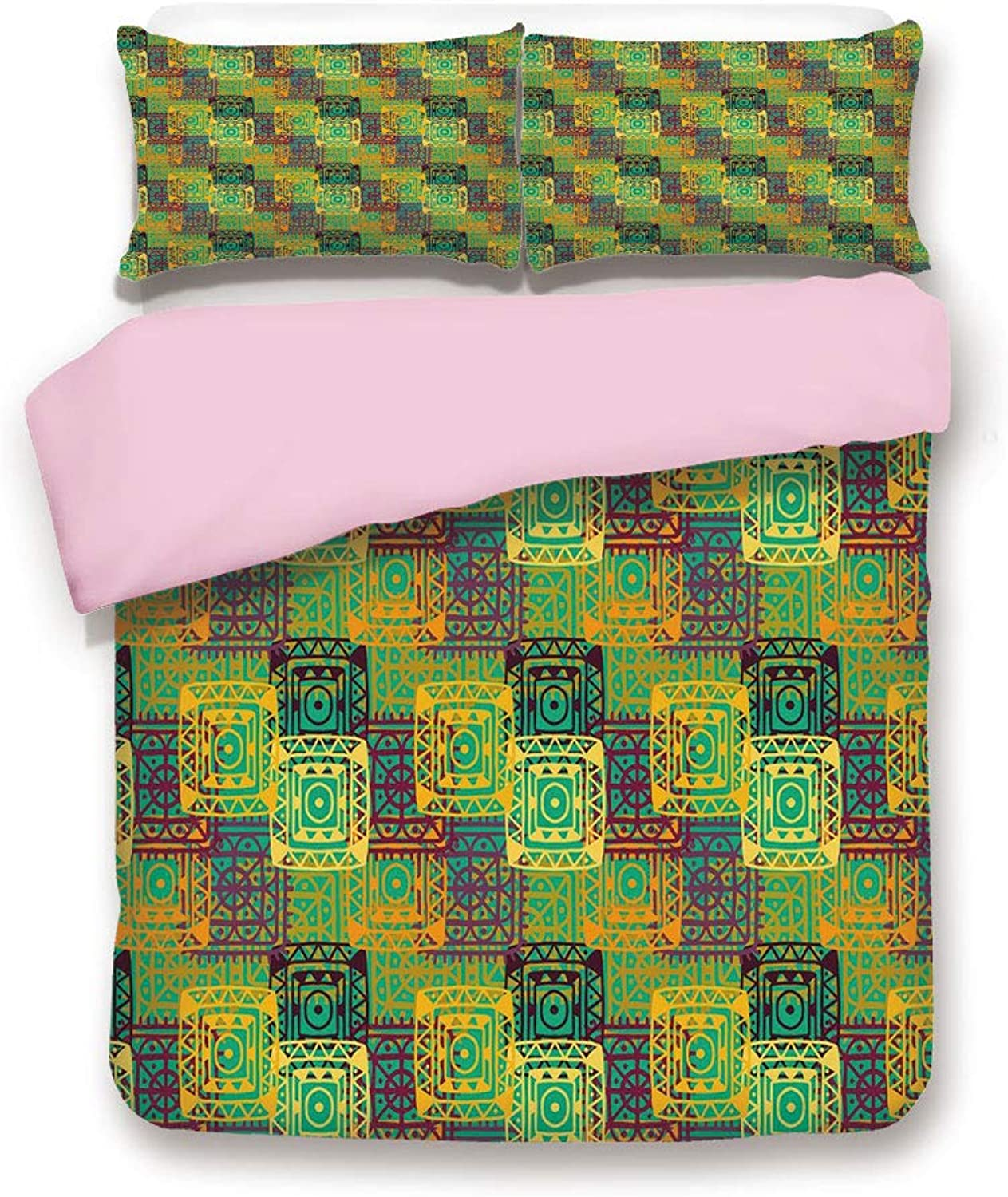 Pink Duvet Cover Set,FULL Size,Aztec Pattern with Geometric