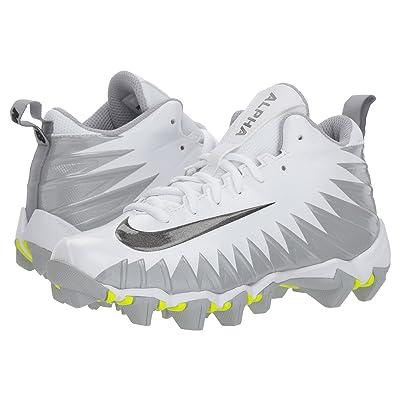 Nike Kids Alpha Menace Shark Football (Toddler/Little Kid/Big Kid) (White/Black/Metallic Silver/Wolf Grey) Kids Shoes