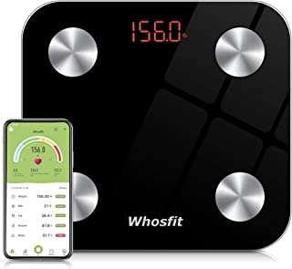 Bluetooth Smart Body Fat Scale, Whosfit Digital Bathroom Weight BMI Scale Body Composition Monitor Analyzer Scale, Accurate Health Monitor, with Smartphone App-400 lbs-Black