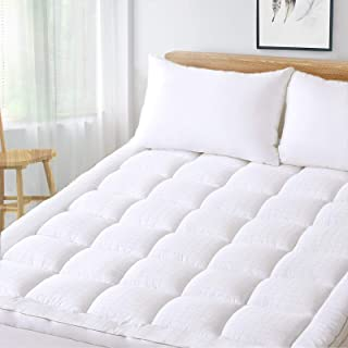DOWNCOOL 400TC Queen Mattress Pad Cover, Cotton Quilted Fitted Pillow Top Mattress Cover, Fluffy White Bed Topper, Snow Down Alternative Deep Pocket Fits Up to 8