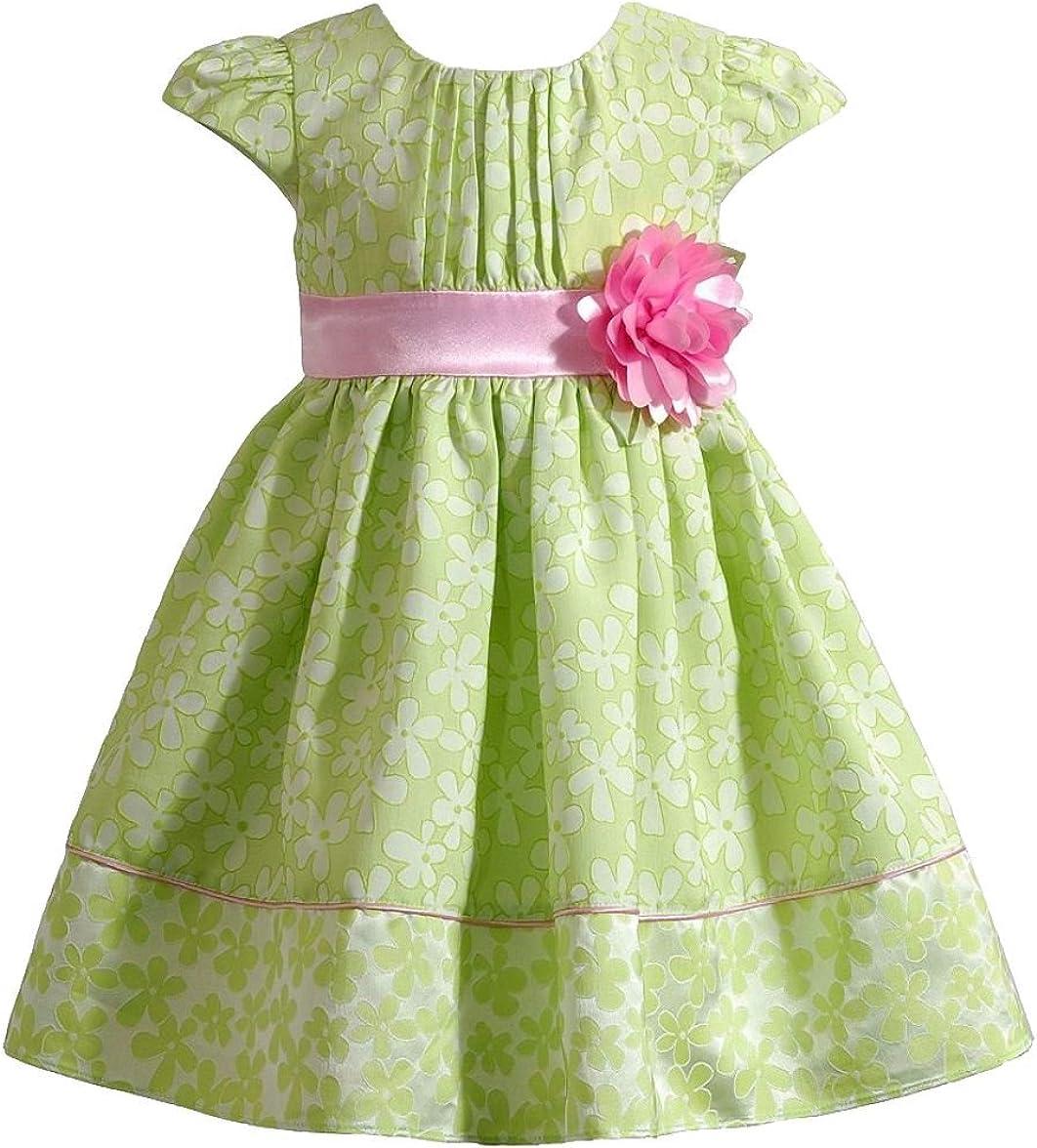 Youngland Girls Flower Print Dress, Green/Pink