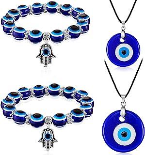 Yaomiao 4 Pieces Evil Eye Necklace with Evil Eye Bracelet Set Blue Eye Bead Hamsa Hand Stretch Bracelet and Glass Eye Faux...