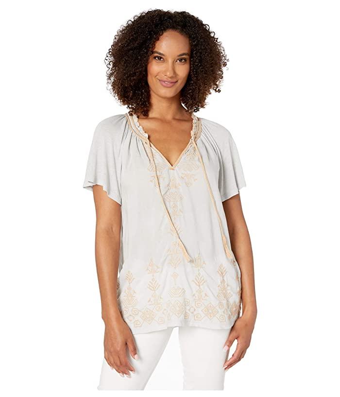 Lucky Brand  Embroidered Peasant Top (Ice Blue) Womens Clothing