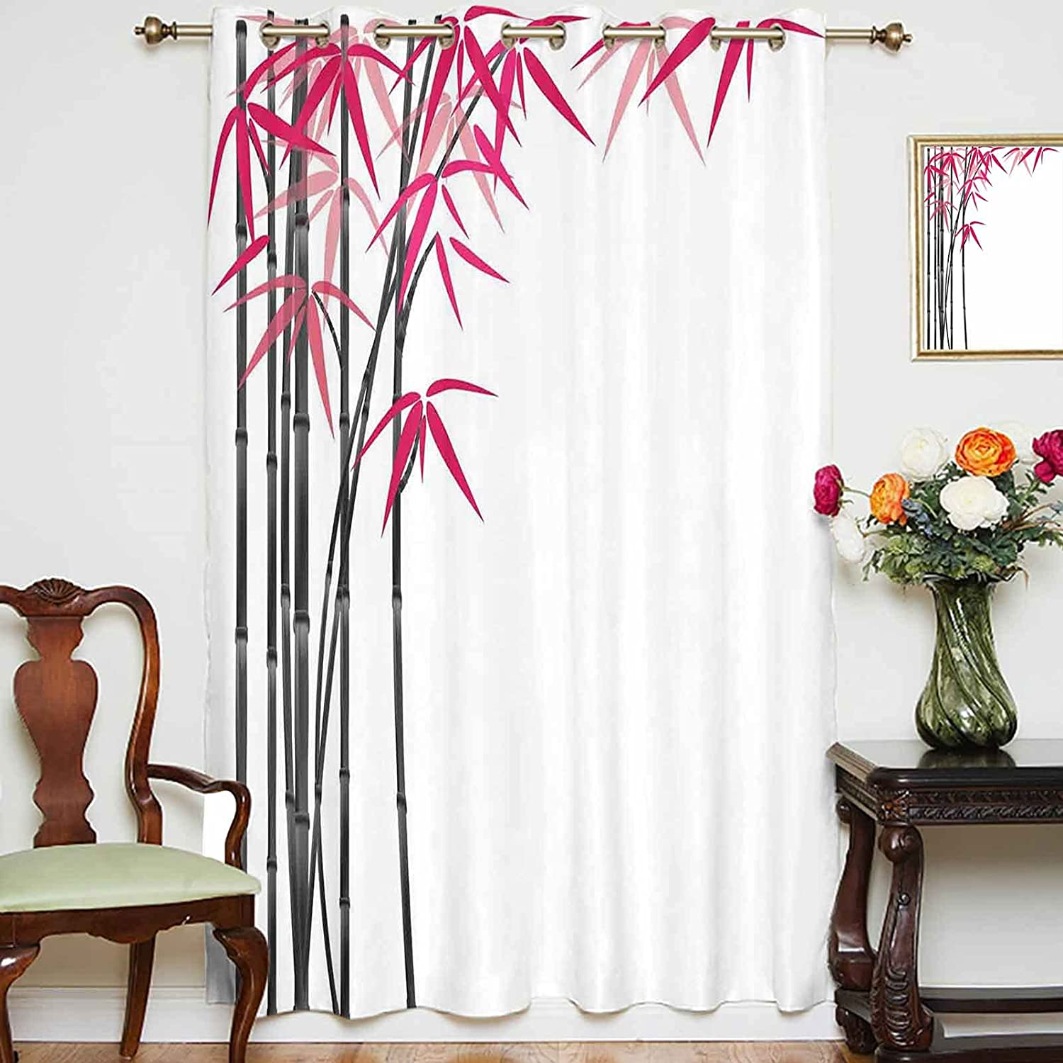 oobon Blackout Curtains Panels Bamboo Colorful Tree Finally resale start with Leaves Department store
