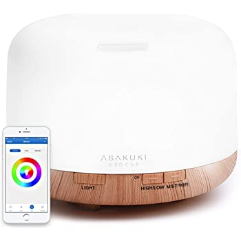 ASAKUKI Smart Wi-Fi Essential Oil Diffuser, App Control Compatible with Alexa, 2020 UPGRADE Design 500ml Aromatherapy Humidifier for Relaxing Atmosphere in Bedroom and Office-Better Sleeping&Breathing