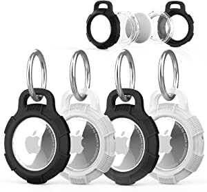 Rantice Case for AirTag, 4 Pack AirTag Keychain, PC+TPU Full Protective Anti-Scratch AirTag Holder Case Cover with Built-in Protective Film for New Apple AirTag Tracker 2021 Released (Black+Clear)