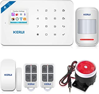 KERUI W18 Sistema de Alarma Inalámbrico 2.4G WiFi/gsm para el Hogar Kits de Sistema de Alarma Antirrobo DIY con Control de Marcado Automático por SMS y App (iOS/Android) Fácil de Instalar
