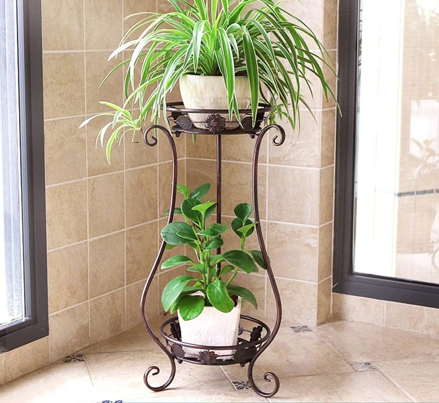 MBD Pot Rack Flower Stand Wrought Iron Flower Rack Multilayer Balcony Living Room Indoor Ground Plant Stand Small Decorative Flower Pots Shelf (color   A, Size   Small)