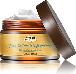 Vitamins Leave In Conditioner Cream - Ethnic Coarse Thick Dry Damaged Hair Repair. Anti Frizz Hair Moisturizer Moroccan Argan Oil Curl Defining Cream