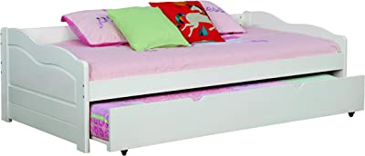 247SHOPATHOME Clancey Daybed with Trundle, Single, White