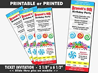 Candyland Birthday Party Ticket Invitation, Printable or Printed Option