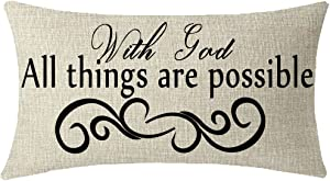 NIDITW Nice Gift Inspirational Words with God All Things are Possible Waist Lumbar Beige Cotton Linen Throw Pillow case Cushion Cover for Sofa Home Decorative Oblong 12x20 Inches
