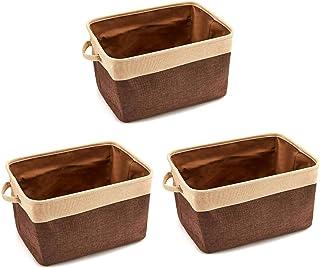 Set De 3 Boîte De Rangement, Boîtes De Rangement En Tissu Panier De Rangement En Toile Avec Poignées 38x27x24cm (Pliable) ...