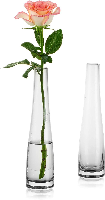 Florero De Vidrio para Flores, 2 Piezas Gris Florero Simple Bud Botellas Altas Y Delgadas De Cuello Estrecho para El Hogar Sala De Estar Oficina Decoración Interior Mesa De Boda Centros De Escritorio