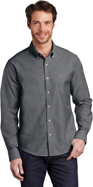 Port Authority Men's Untucked Fit SuperPro Oxford Shirt, Black, Medium