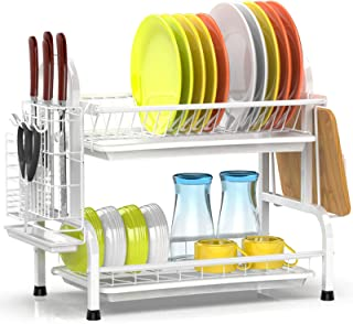 Dish Drying Rack, iSPECLE Premium 304 Stainless Steel 2-Tier Dish Rack with Utensil..