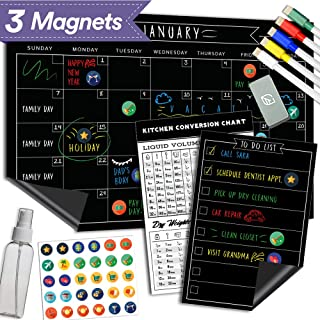 "Magnetic Dry Erase Refrigerator Calendar - 11"" x 17"" - Large Reusable Monthly Chalkboard - Meal Cooking Conversion Chart &..."