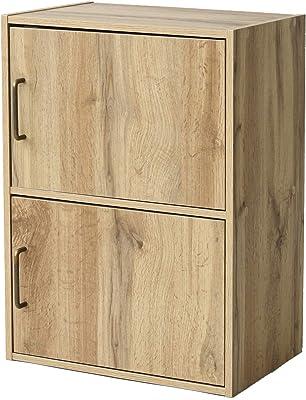 [山善] カラーボックス (扉付き) 2段 幅42×奥行29×高さ59cm 本棚 収納棚 洗面所棚 食器棚 組立品 隠す収納 ホコリが入りにくい オーク TCB-2(OAK3D)