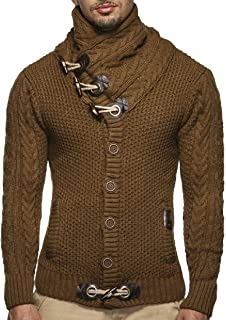 Mens Fashion Sweaters Turtleneck Cable Knit Button Down Chunky Casual Fall Jackets Coat