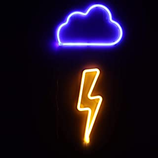 Neon Signs 2 Packs Blue Cloud+Warm White Lightning Bolt Battery and USB Powered Wall Art LED Decorative Night Lights for Bedroom Kids' Gifts(CLDB+LNB)