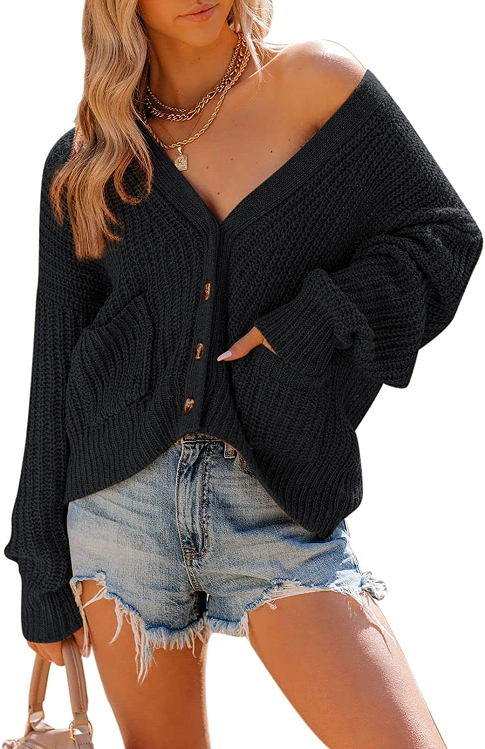 Linsery Womens Loose Long Sleeve Sexy V-Neck Cardigan Button Knit Pullover Sweater with Pocket