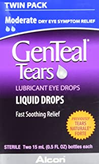 GenTeal Tears Lubricant Eye Drops, Moderate Liquid Drops, Twin Pack (Each 2 Count of 0.5 Fl Oz) 1 Fl Oz
