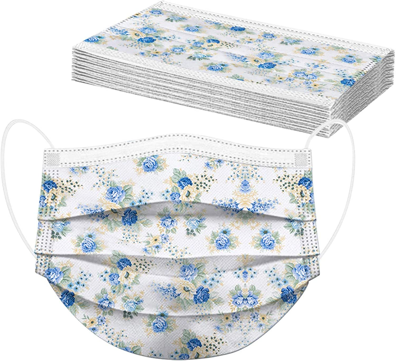Disposable Face_Masks with Designs for Adult Beautiful Elegant Flower Print Face_mask Breathable Face Bandanas Balaclava