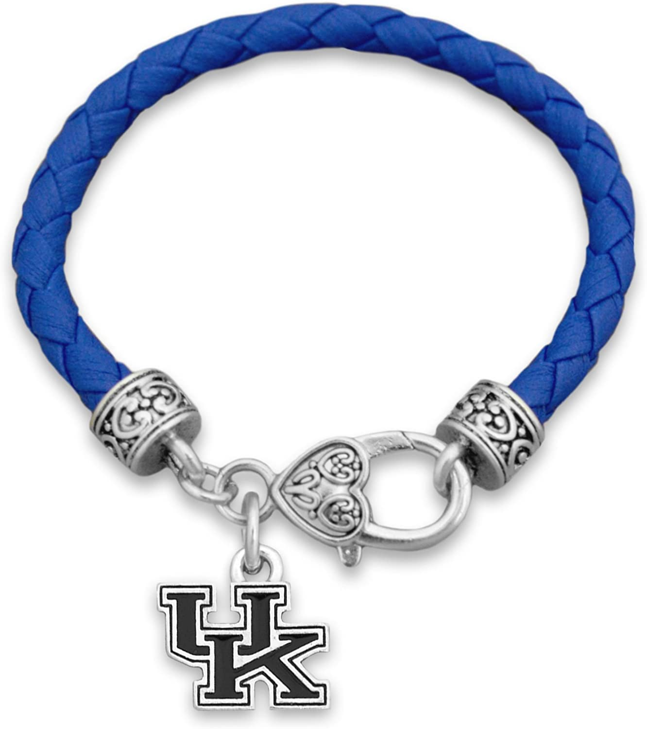 Kentucky Wildcats Leather Bracelet with Round Logo and Lobster Clasp