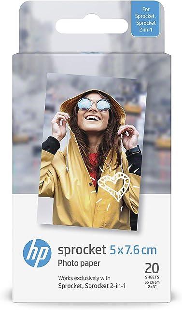 HP ZINK W4Z13A - Papel Fotográfico Adhesivo (20 hojas/5 x 76 cm) Blanco