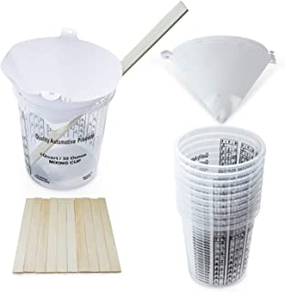 Haveleft 3-in-1 Paint Mixing Kit: Mix, Measure and Filter Epoxy, Paint and Resin - 10x Quart (32-oz) Graduated Paint Mixing Cups, 10x 190 Micron Paint Strainer Filters and 10x Wooden Paint Stirrers