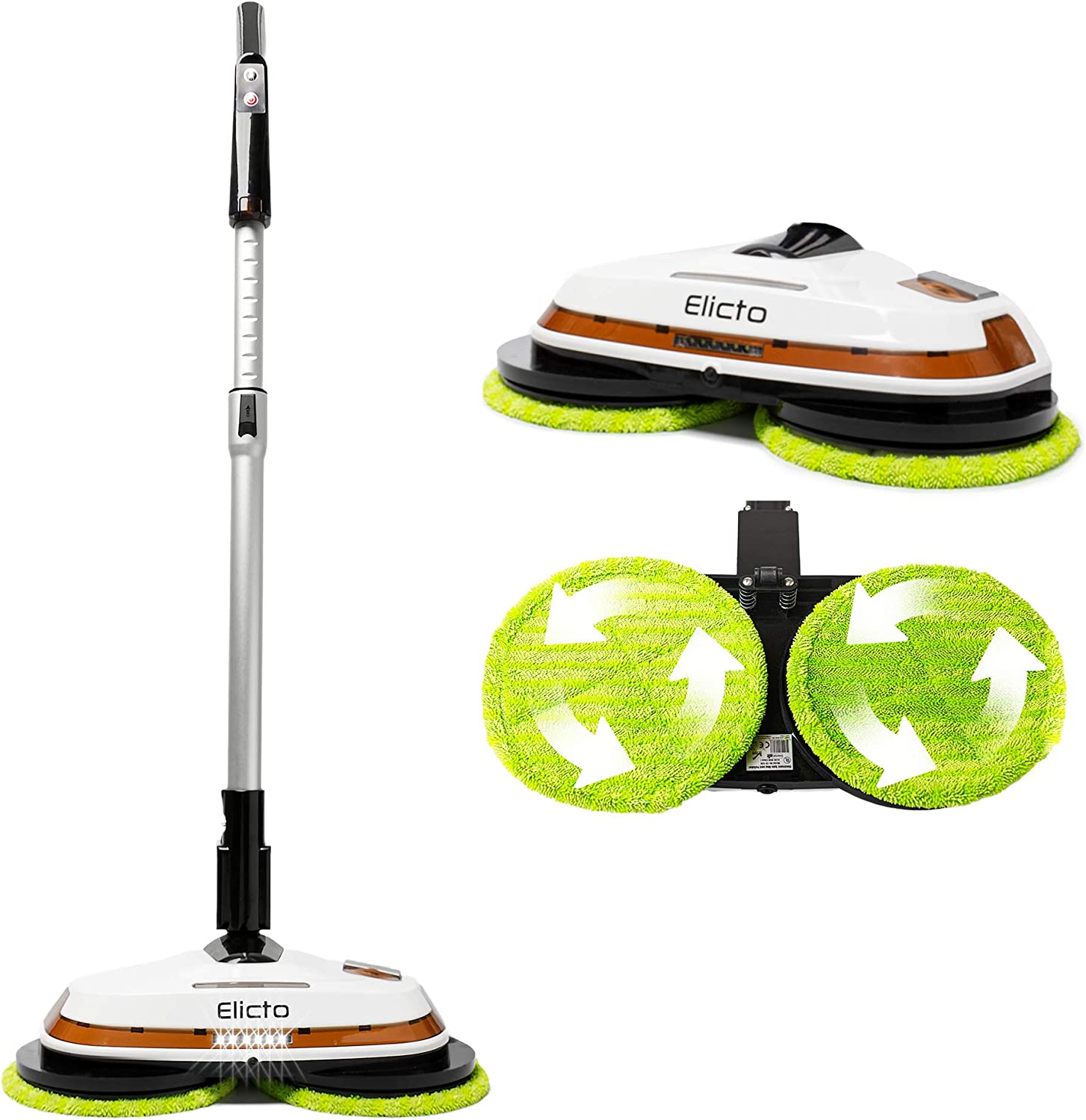 Elicto Electronic Dual Spin Mop and Polishe with Water Spray and Adjustable Height for All Hard Surfaces
