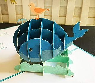 BC Worldwide Ltd fatto a mano 3D pop up birthday card uccello balena mare oceano animale San Valentino, anniversario di ma...