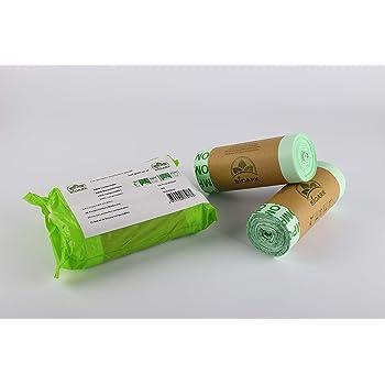 BIOARK- Sacchetti biodegradabili per la spazzatura compostabili, 100% compostabili, 30 litri, 50 pezzi, extra spessi, biodegradabili e compostabili, certificati EN 13432, TUV Home ok Compost